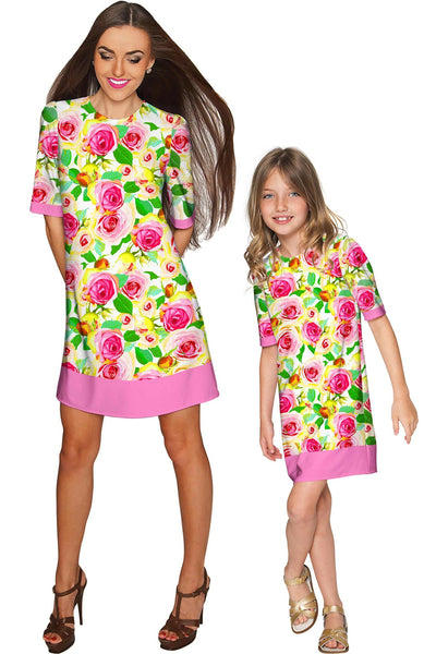 Rosarium Grace Pretty Summer Printed Shift Dress - Girls