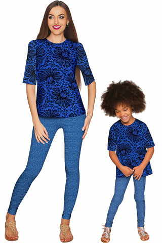 Blue Soulmate Sophia Elbow Sleeve Party Top - Mommy & Me - Pineapple Clothing
