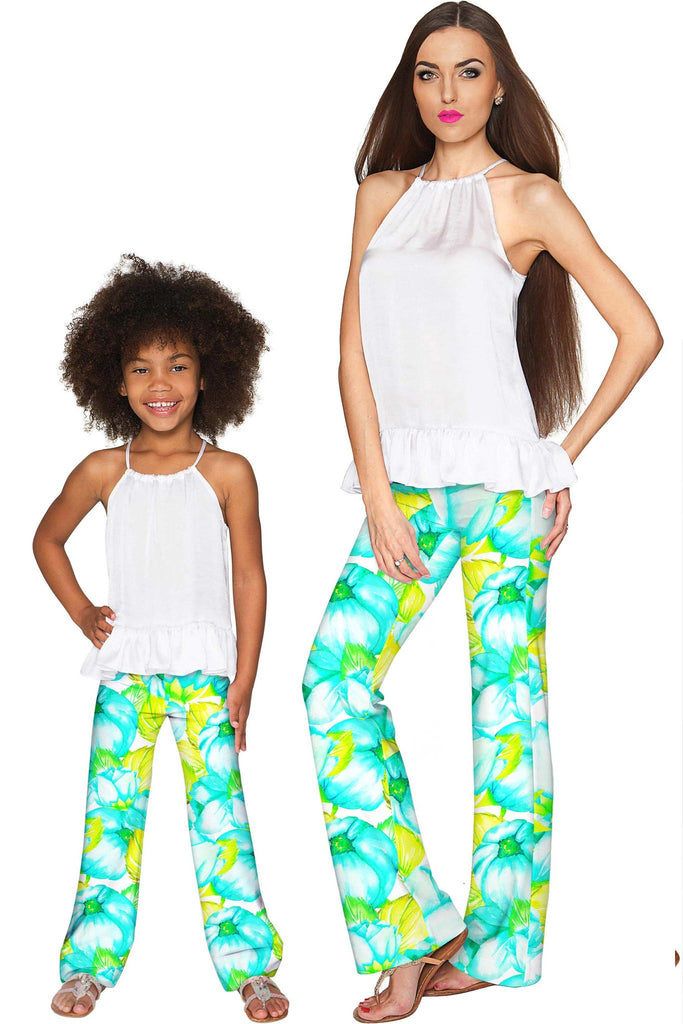 Sunny Day Amelia Summer Floral Fancy Palazzo Pant - Girls - Pineapple Clothing