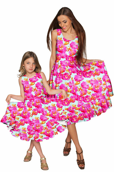 Sweet Illusion Vizcaya Fit & Flare Pink Floral Party Dress - Girls