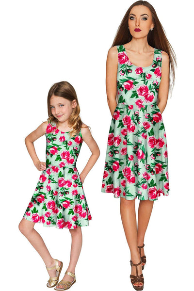 Sweetheart Mia Fit & Flare Green Flower Print Dress - Girls