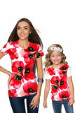 Tulip Salsa Zoe Red Floral Print Cute Designer T-Shirt - Girls - Pineapple Clothing