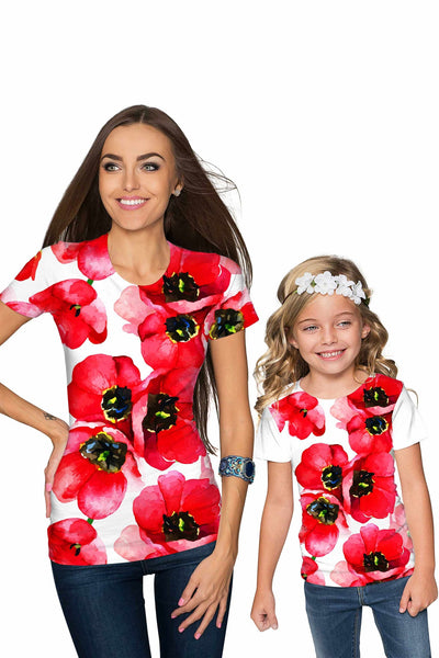 Tulip Salsa Zoe Red Floral Print Cute Designer T-Shirt - Girls