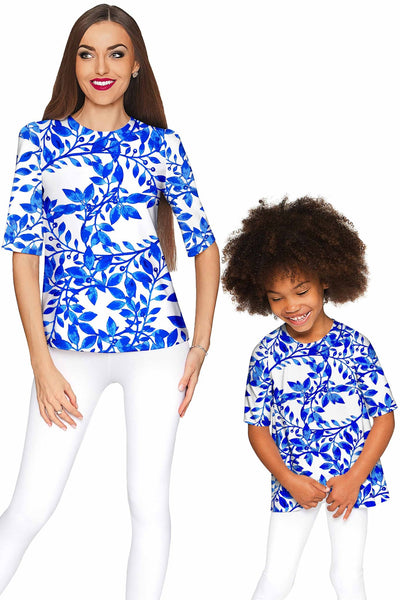 Whimsy Sophia White Blue Print Sleeved Party Top - Women