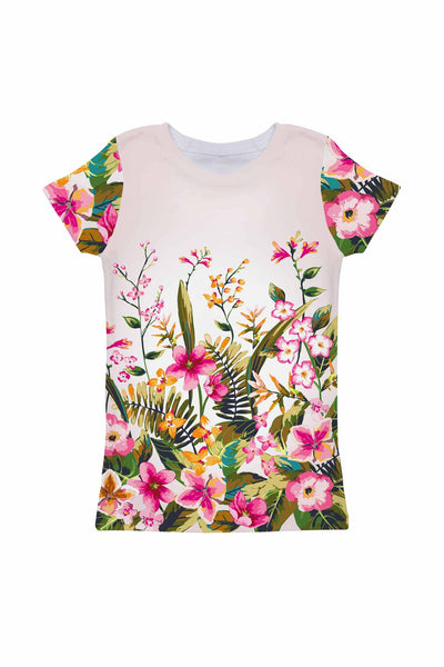 Mountain Garden Zoe White Floral Print Eco T-Shirt - Girls