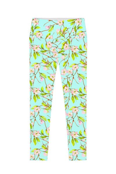 Muse Lucy Green Floral Print Performance Leggings - Women - Pineapple Clothing
