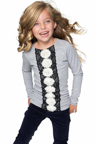 Cute Grey Fancy Long Sleeve Top with Lace & Flower Trim - Girls - Pineapple Clothing