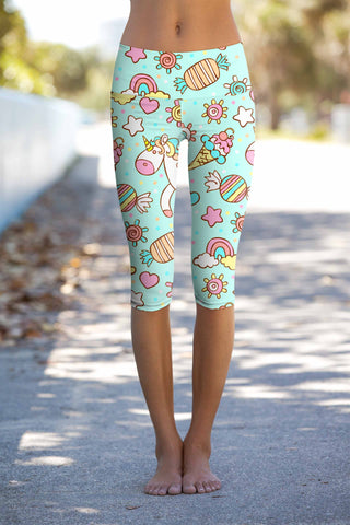 My Friend Unicorn Ellie Mint Performance Yoga Capri Leggings - Women - Pineapple Clothing