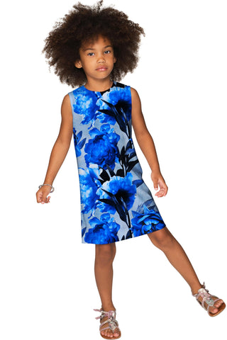 Mystery Adele Blue Designer Floral Print Shift Dress - Girls - Pineapple Clothing