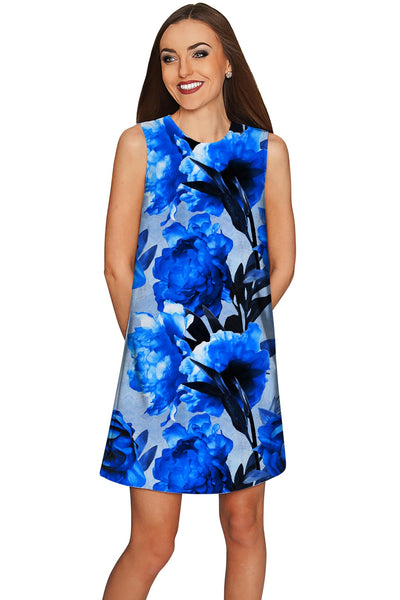 Mystery Adele Blue Floral Printed Chic Shift Dress - Women