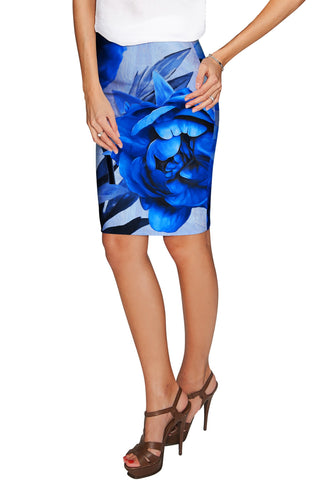 Mystery Carol Blue Flower Sassy Stretch Pencil Skirt - Women - Pineapple Clothing