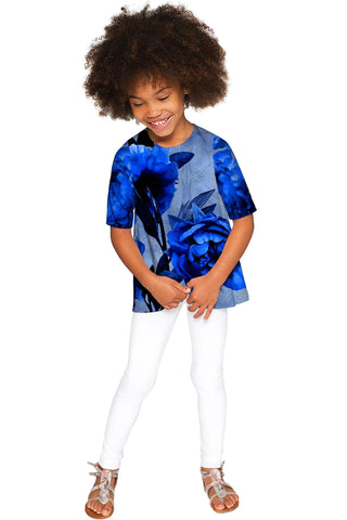 Mystery Sophia Blue Flower Print Sleeved Dressy Top - Girls - Pineapple Clothing