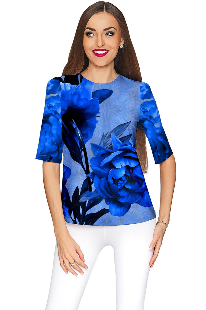 Mystery Sophia Blue Flower Print Fancy Party Top - Women - Pineapple Clothing