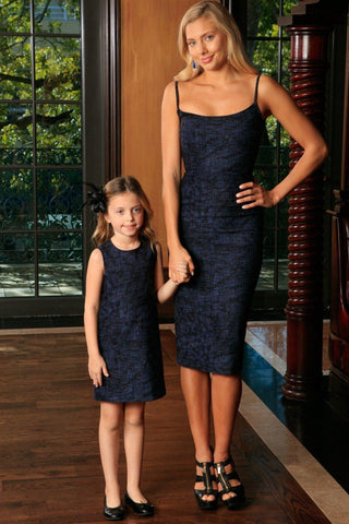 Navy Animal Print Fancy Evening Trendy Designer Mommy and Me Dresses