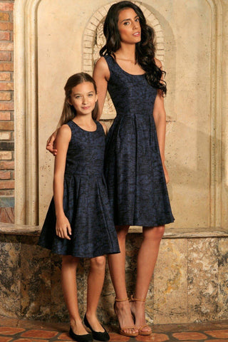 Navy Animal Print Sleeveless Skater Fit & Flare Mother Daughter Dress - Pineapple Clothing