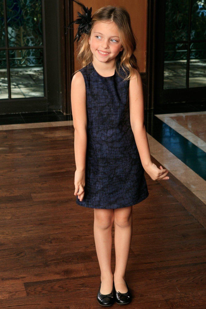 458afa86e Navy Animal Print Sleeveless Stylish Fancy Party Shift Dress - Girls ...