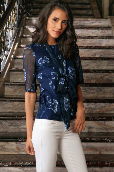 Navy Blue Floral Elbow Sleeve Cute Dressy Fancy Top With Scarf - Women