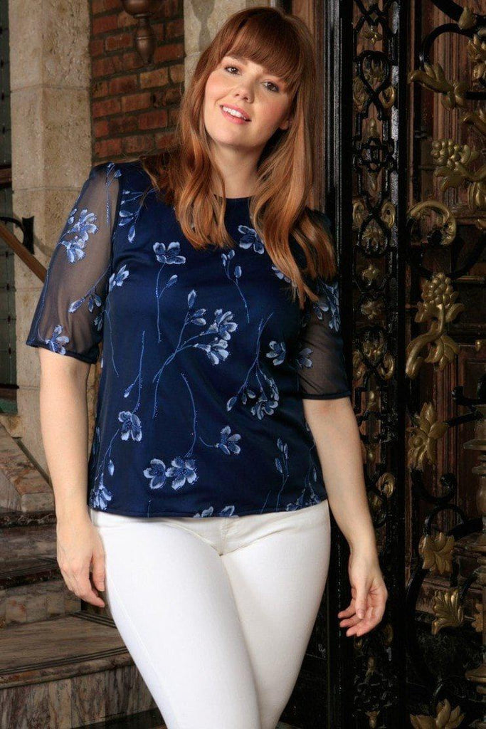 Navy Blue Floral Elbow Sleeve Evening Dressy Top - Women Plus Size