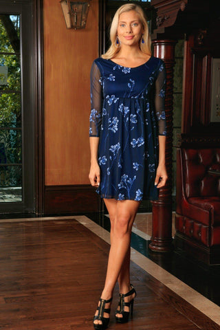 Navy Blue Floral Empire Waist Half Sleeve Trendy Party Dress - Women