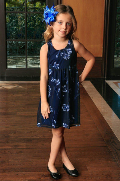 Navy Blue Floral Empire Waist Sleeveless Party Dress - Girls