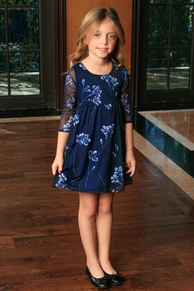 Navy Blue Floral Empire Waist Three-Quarter Sleeve Dress - Girls