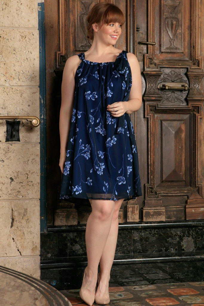 94206348bcd5e Navy Blue Floral Halter Swing Evening Party Sexy Curvy Dress Plus Size -  Pineapple Clothing