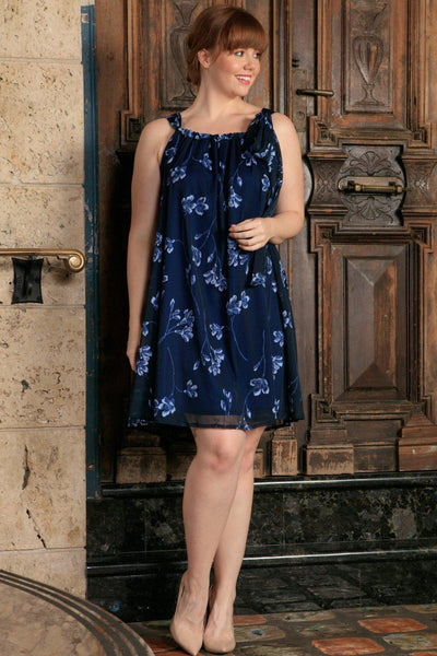 Navy Blue Floral Halter Swing Evening Party Sexy Dress - Women Plus Size