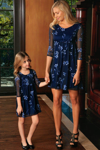 Navy Blue Floral Lace Empire Waist 3/4 Sleeve Mother Daughter Dress - Pineapple Clothing