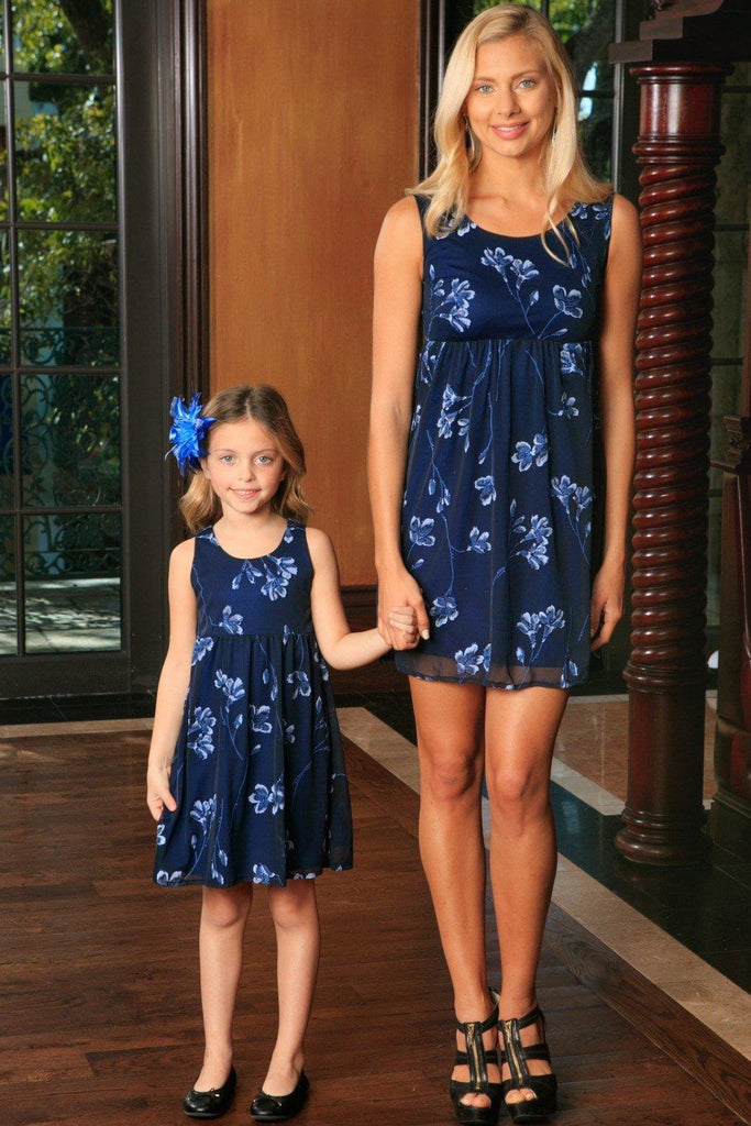 Navy Blue Floral Lace Empire Waist Sleeveless Day Mommy and Me Dress