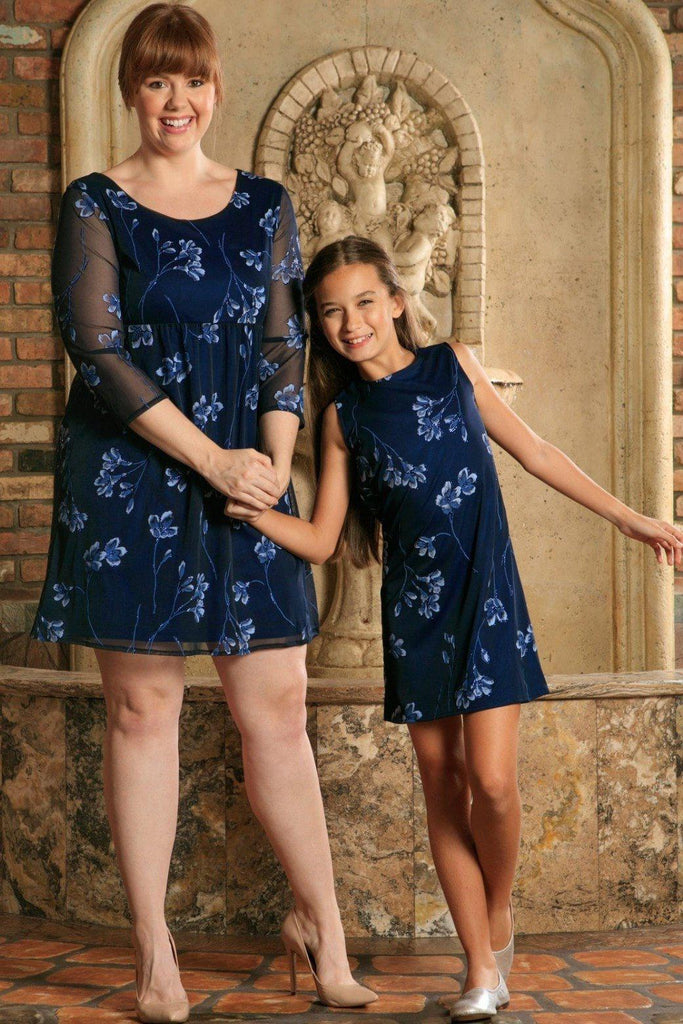 Navy Blue Floral Lace Party Cute Mother Daughter Dresses Plus Size