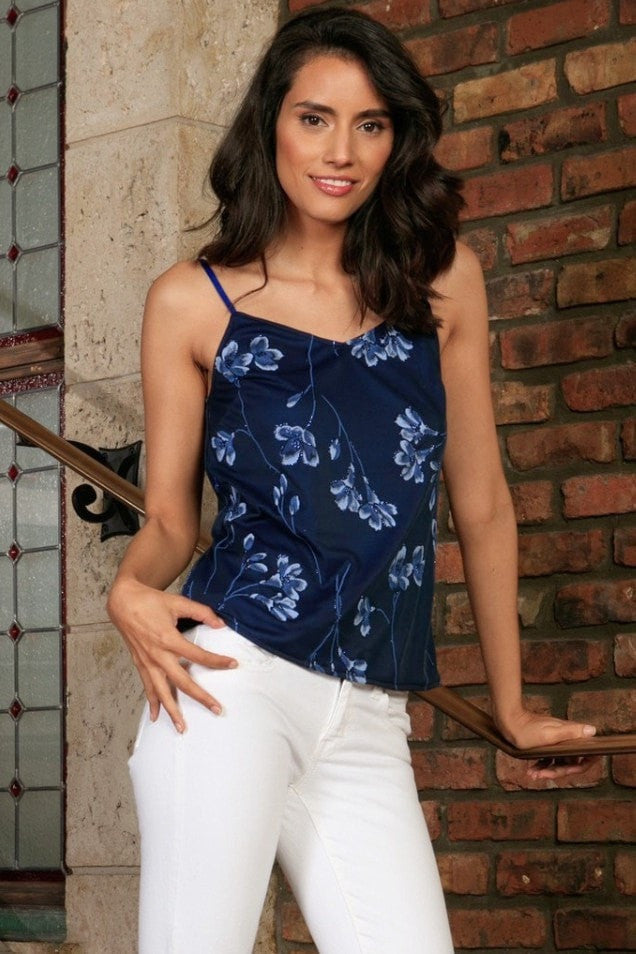 Navy Blue Floral V-Neck Sleeveless Cute Fancy Dressy Cami Top - Women