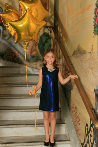 Navy Blue Stretchy Metallic Sleeveless Fancy Party Shift Dress - Girls - Pineapple Clothing