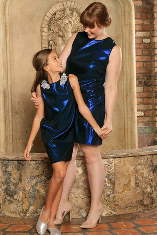 Navy Blue Sparkly Metallic Sleeveless Party Mommy & Me Dress Plus Size - Pineapple Clothing