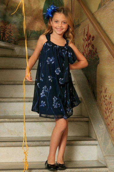 Navy Floral Halter Swing Holiday Princess Dress - Girls
