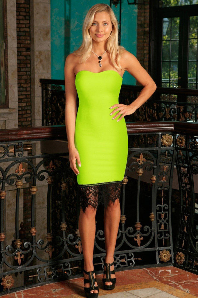 67d9b6e46ed6 Neon Yellow Strapless Sweetheart Bodycon Summer Party Dress - Women -  Pineapple Clothing