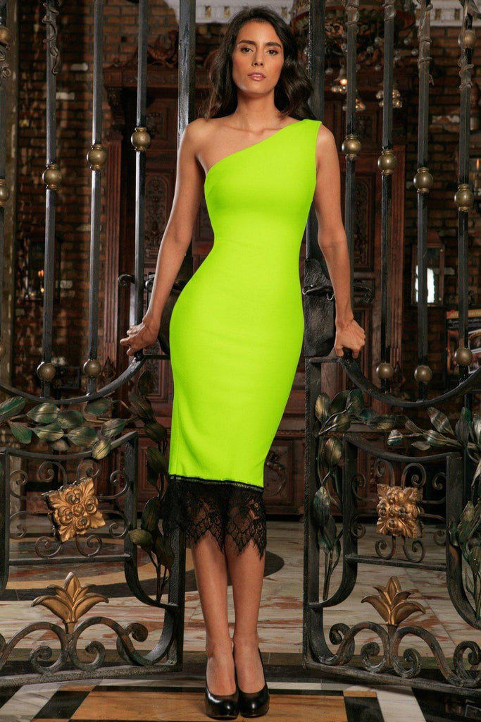 127319ddb3af Neon Yellow Stretchy One-Shoulder Bodycon Summer Midi Dress - Women -  Pineapple Clothing