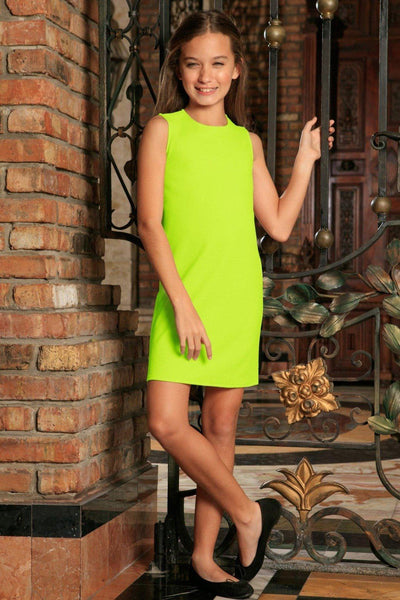 Neon Yellow Stretchy Sleeveless Stylish Summer Shift Dress - Girls
