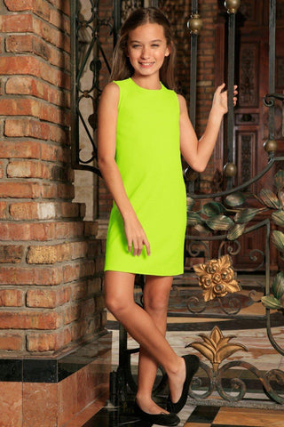 Neon Yellow Lime Green Sleeveless Stylish Cute Summer Shift Dress Girls