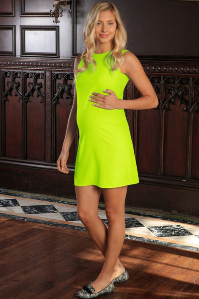 Neon Yellow Stretchy Sleeveless Summer Shift Dress - Women Maternity