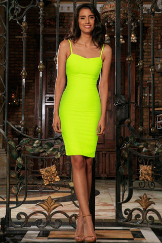 0dfbc1ce754 Neon Yellow Lime Green Stretchy Summer Trendy Bodycon Mini Dress - Women -  Pineapple Clothing