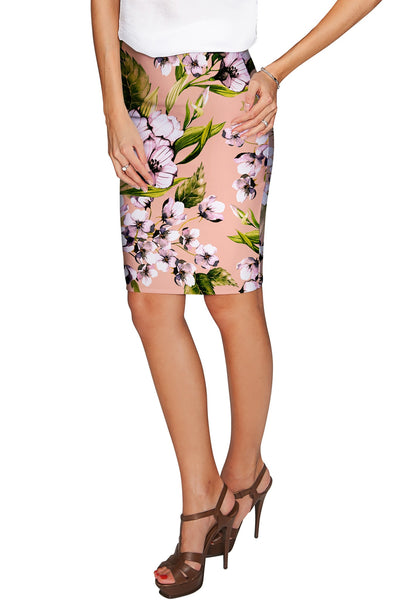 Ooh Darling Carol Beige Floral Stretch Pencil Skirt - Women