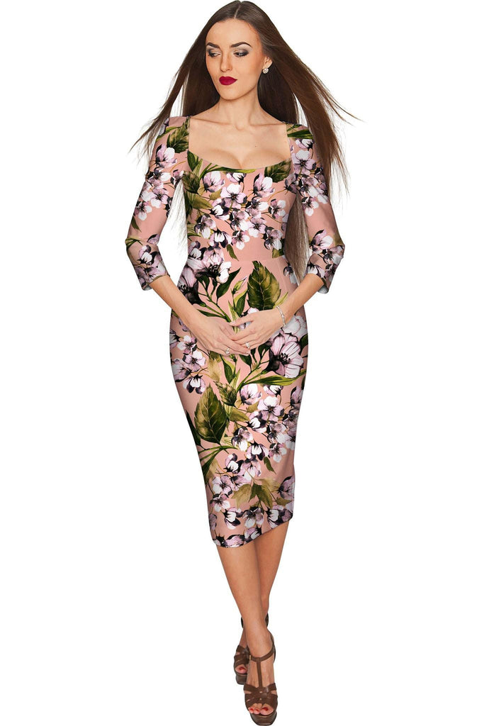 Ooh Darling Lili Elegant Classy Floral Midi Dress - Women - Pineapple Clothing