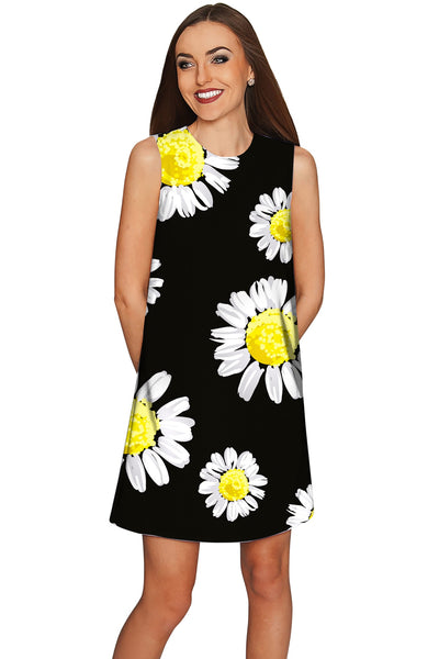 Oopsy Daisy Adele Floral Black Party Shift Dress - Women