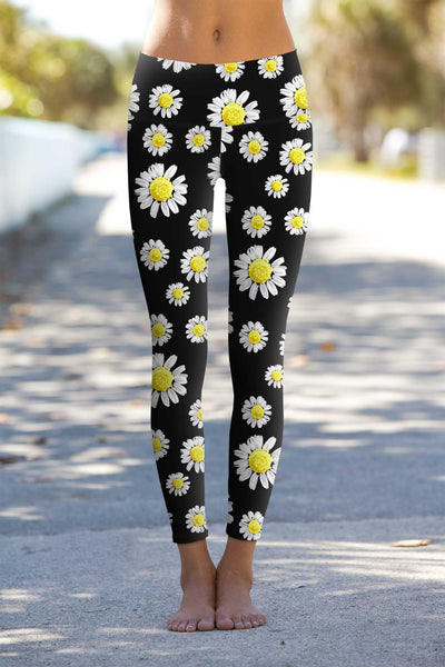 Oopsy Daisy Lucy Black Floral Performance Leggings - Women