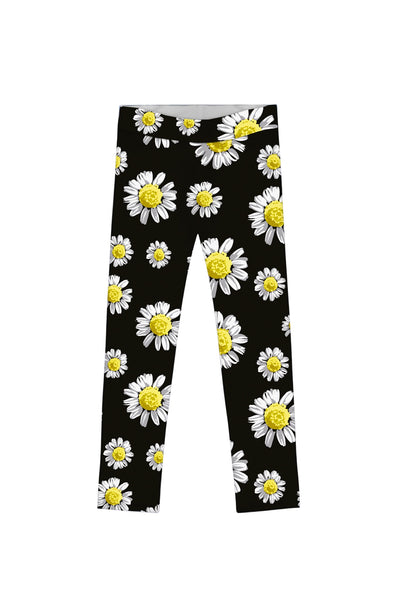 Oopsy Daisy Lucy Cute Black Floral Printed Leggings - Girls