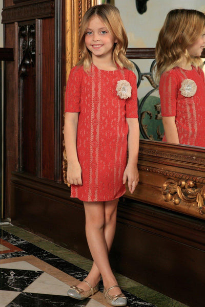 Orange Coral Red Crochet Lace Sleeved Shift Fancy Party Dress - Girls