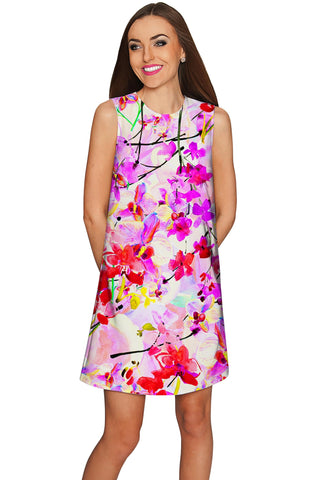 Orchid Caprice Adele Pretty Pink Floral Shift Dress - Women - Pineapple Clothing