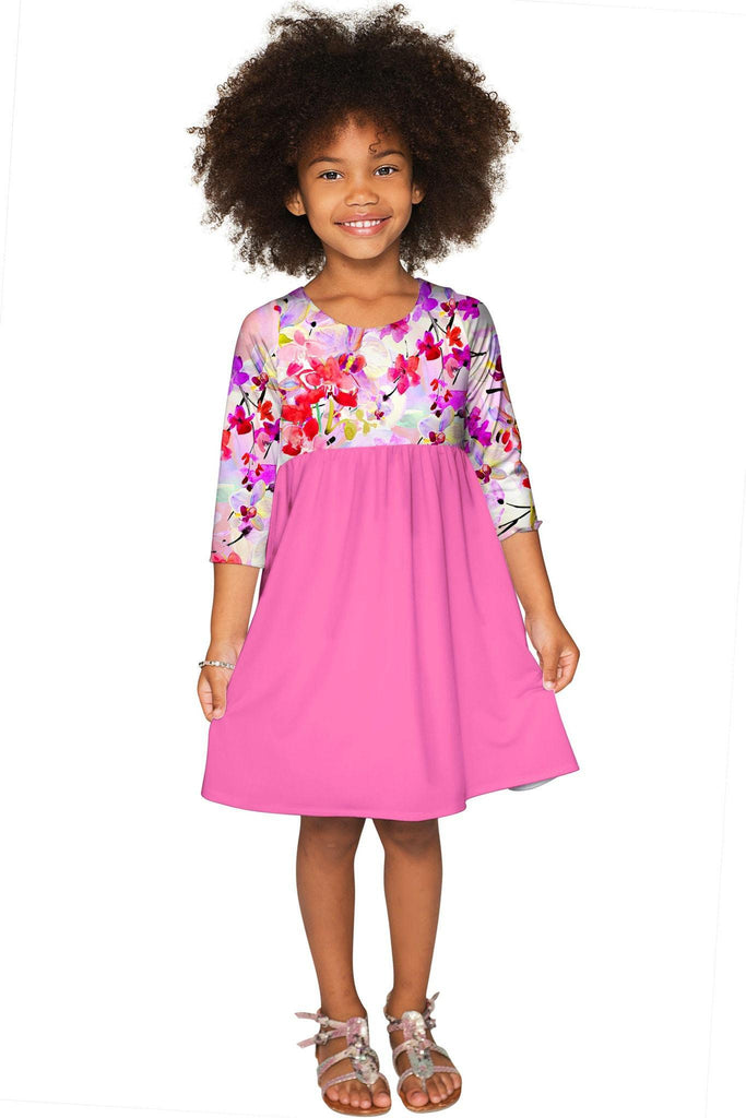 Orchid Caprice Gloria Cute Baby Pink Empire Dress - Girls - Pineapple Clothing
