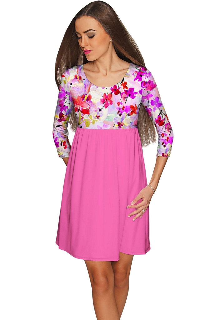 Orchid Caprice Gloria Babydoll Pink Floral Dress - Women - Pineapple Clothing