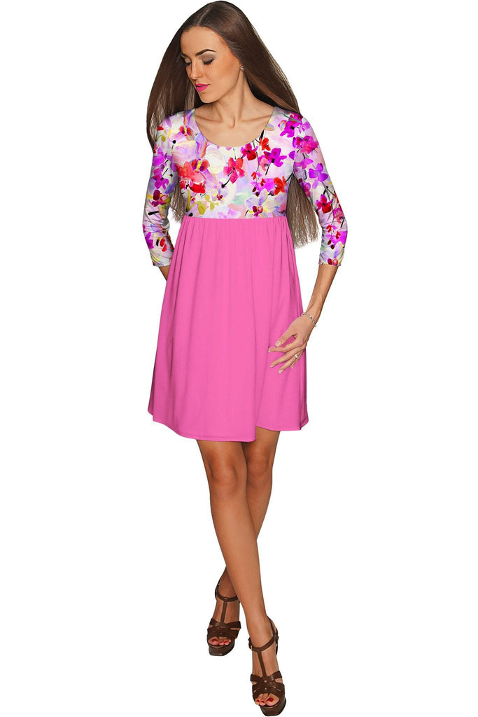 8a25c040f1 Orchid Caprice Gloria Babydoll Pink Floral Dress - Women - Pineapple  Clothing